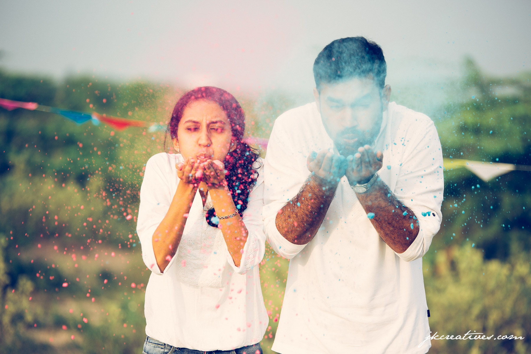 JK Creatives - Holi Themed Outdooe Couple Photoshoot at Coimbatore